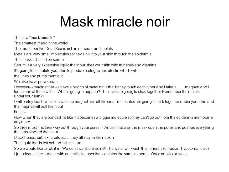 Mask miracle noir This is a mask miracle The smartest mask in the world.