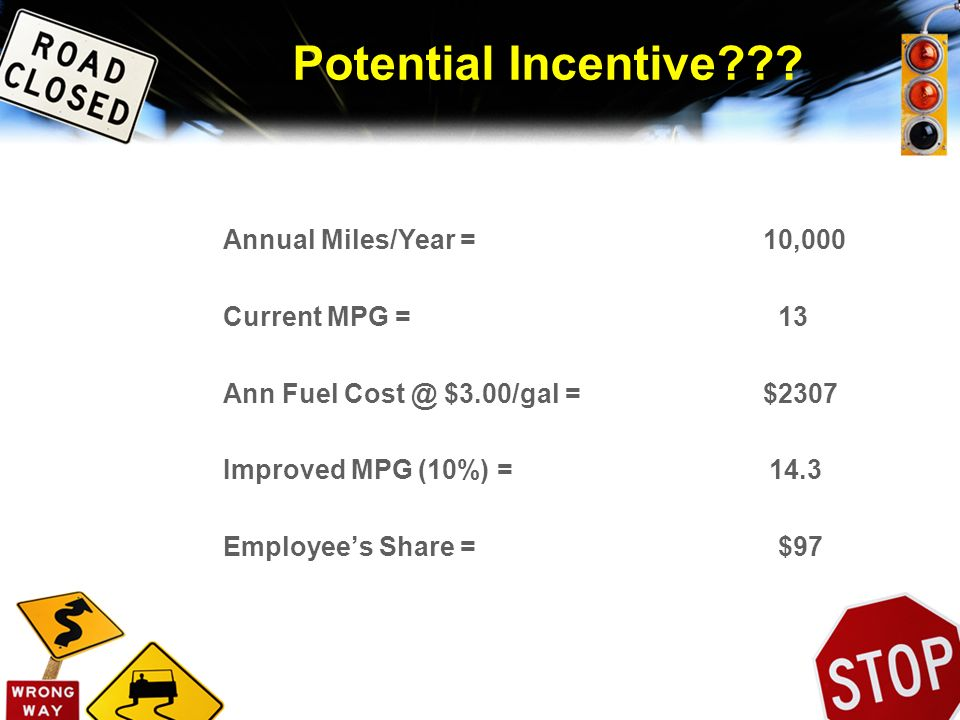Potential Incentive??? Annual Miles/Year = 10,000 Current MPG = 13 Ann Fuel Cost @ $3.00/gal = $2307 Improved MPG (10%) = 14.3 Employees Share = $97