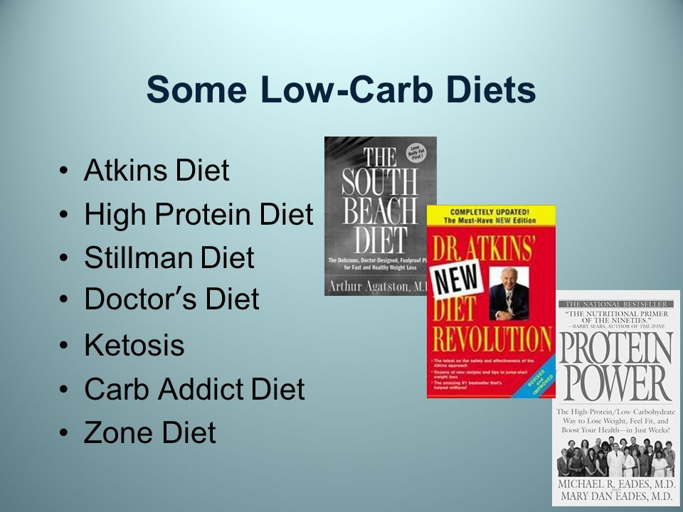 Some Low-Carb Diets Atkins Diet High Protein Diet Stillman Diet Doctors Diet Ketosis Carb Addict Diet Zone Diet