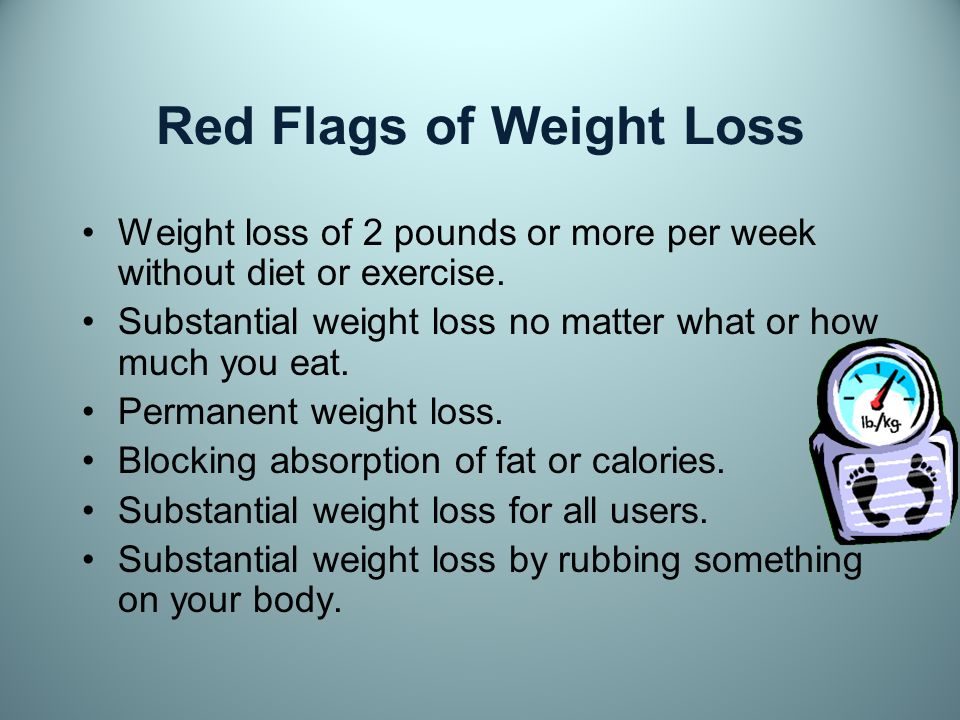 TOO test TOO fast Promise of fast weight loss 2 or more pounds per week