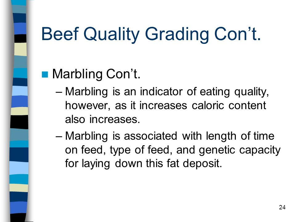 24 Beef Quality Grading Cont. Marbling Cont. –Marbling is an indicator of eating quality, however, as it increases caloric content also increases. –Ma