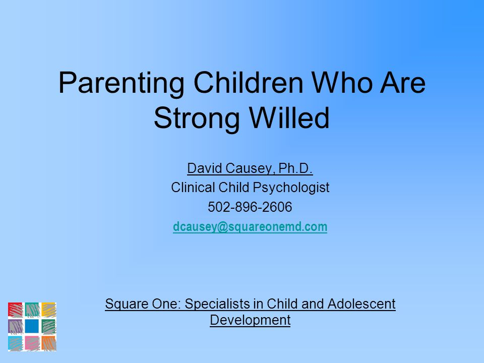 Parenting Children Who Are Strong Willed David Causey, Ph.D. Clinical Child Psychologist 502-896-2606 dcausey@squareonemd.com Square One: Specialists