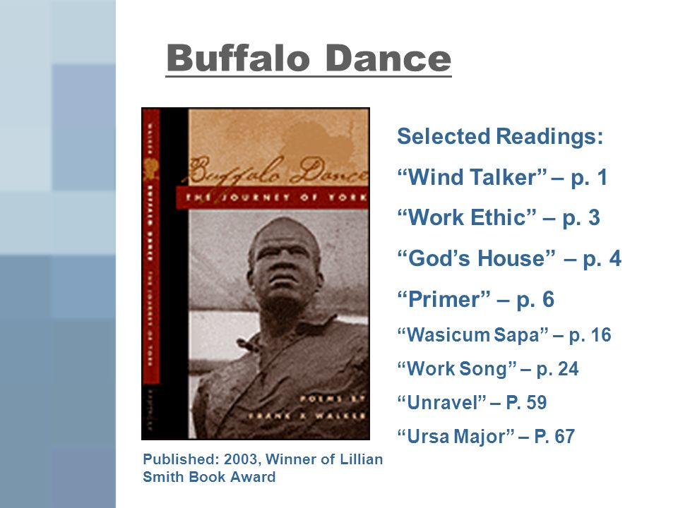 Buffalo Dance Published: 2003, Winner of Lillian Smith Book Award Selected Readings: Wind Talker – p.