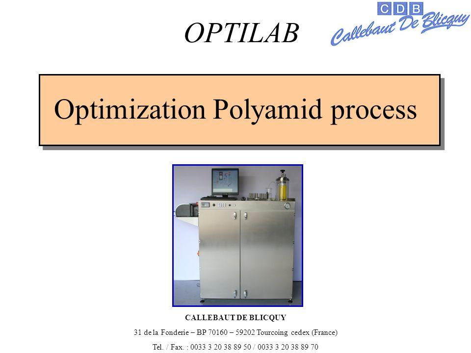 Optimization Polyamid process OPTILAB CALLEBAUT DE BLICQUY 31 de la Fonderie – BP 70160 – 59202 Tourcoing cedex (France) Tel.