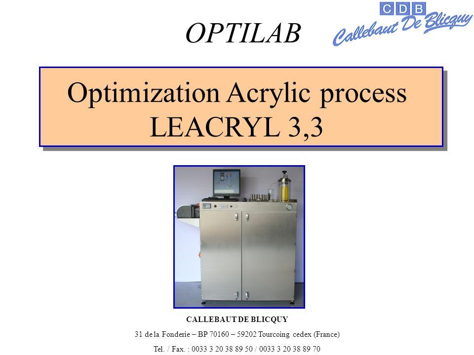 Optimization Acrylic process LEACRYL 3,3 OPTILAB CALLEBAUT DE BLICQUY 31 de la Fonderie – BP 70160 – 59202 Tourcoing cedex (France) Tel.