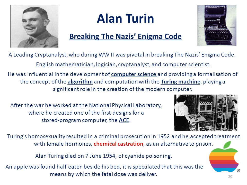 Alan Turin Breaking The Nazis Enigma Code A Leading Cryptanalyst, who during WW II was pivotal in breaking The Nazis Enigma Code. English mathematicia