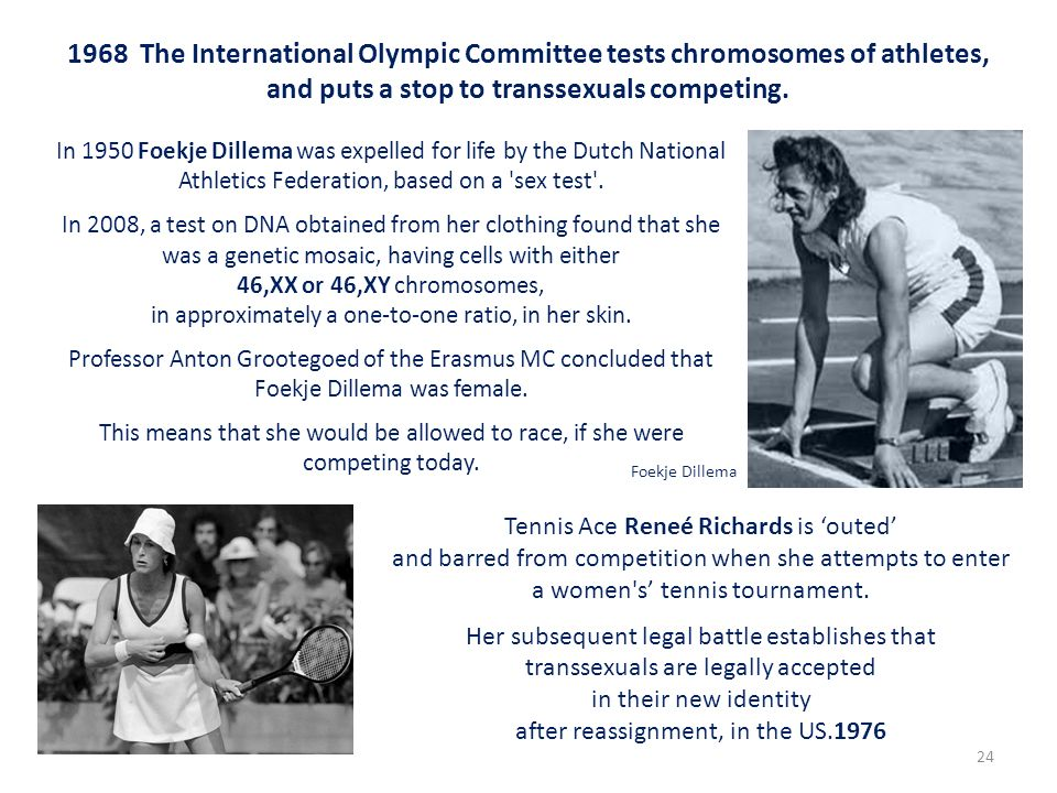 1968 The International Olympic Committee tests chromosomes of athletes, and puts a stop to transsexuals competing. Tennis Ace Reneé Richards is outed