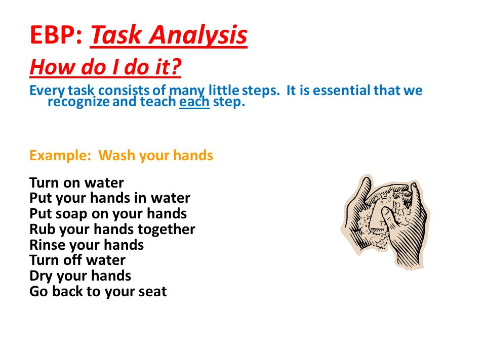 EBP: Task Analysis How do I do it? Every task consists of many little steps. It is essential that we recognize and teach each step. Example: Wash your