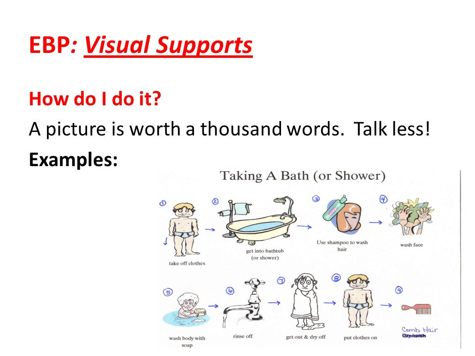 EBP: Visual Supports How do I do it? A picture is worth a thousand words. Talk less! Examples: