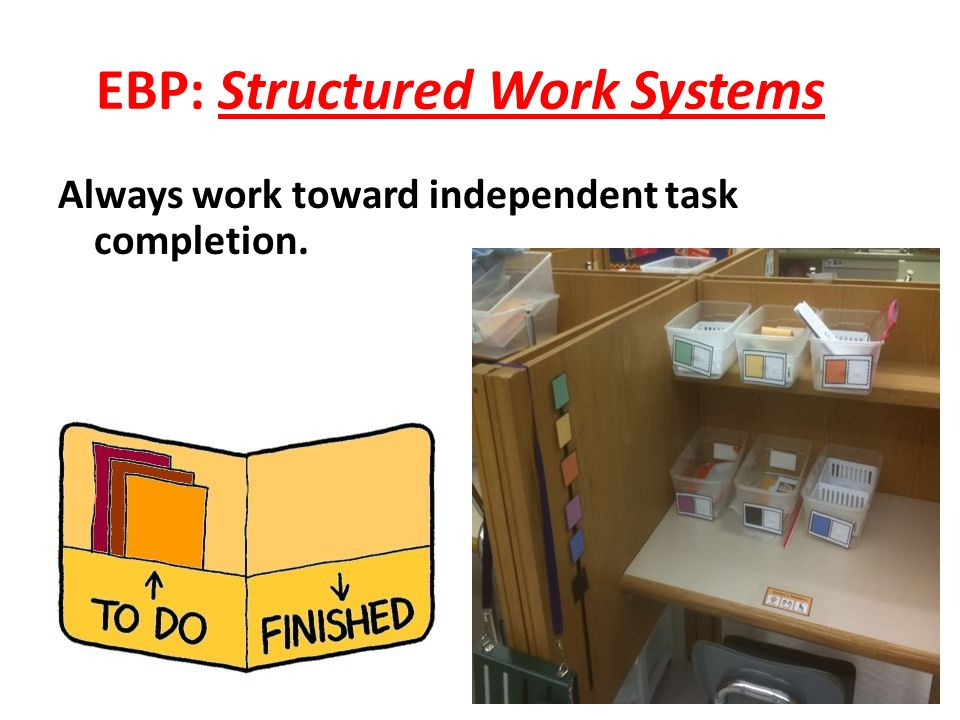 EBP: Structured Work Systems Always work toward independent task completion.