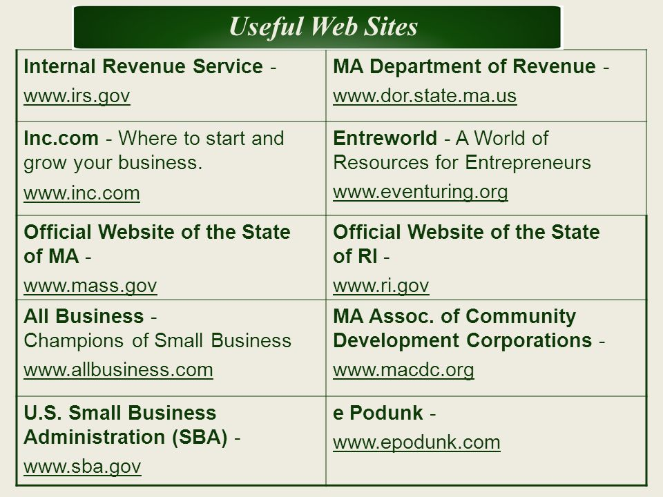 Internal Revenue Service - www.irs.gov MA Department of Revenue - www.dor.state.ma.us Inc.com - Where to start and grow your business. www.inc.com Ent