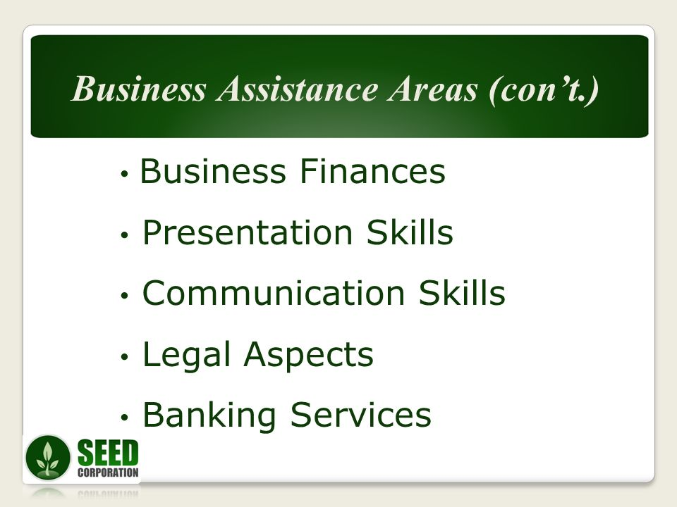 Business Finances Presentation Skills Communication Skills Legal Aspects Banking Services Business Assistance Areas (cont.)