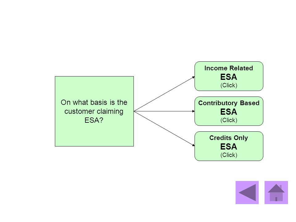 On what basis is the customer claiming ESA? Income Related ESA (Click) Credits Only ESA (Click) Contributory Based ESA (Click)