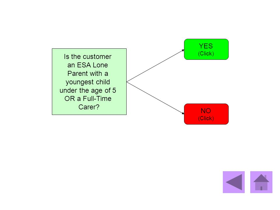 Is the customer an ESA Lone Parent with a youngest child under the age of 5 OR a Full-Time Carer? YES (Click) NO (Click)