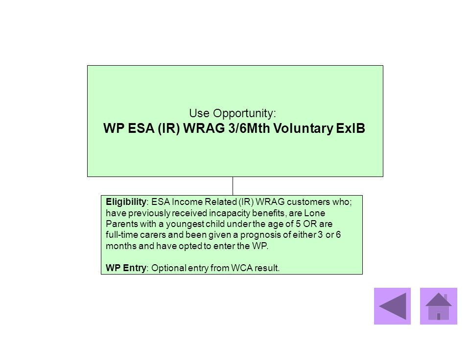 Use Opportunity: WP ESA (IR) WRAG 3/6Mth Voluntary ExIB Eligibility: ESA Income Related (IR) WRAG customers who; have previously received incapacity b