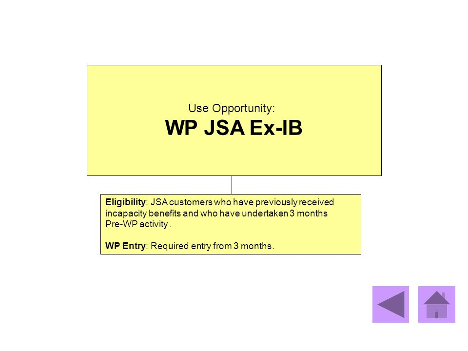 Use Opportunity: WP JSA Ex-IB Eligibility: JSA customers who have previously received incapacity benefits and who have undertaken 3 months Pre-WP acti