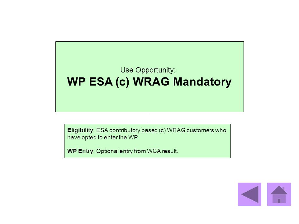Use Opportunity: WP ESA (c) WRAG Mandatory Eligibility: ESA contributory based (c) WRAG customers who have opted to enter the WP. WP Entry: Optional e