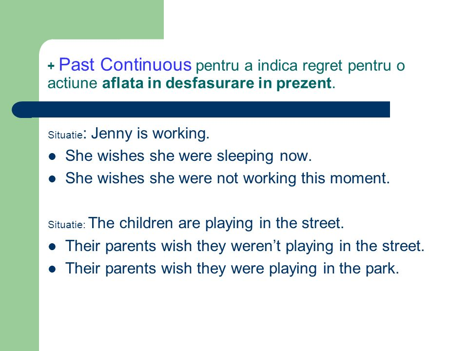 + Past Perfect pentru a indica regret pentru o situatie dezirabila, dar nerealizata, din trecut.