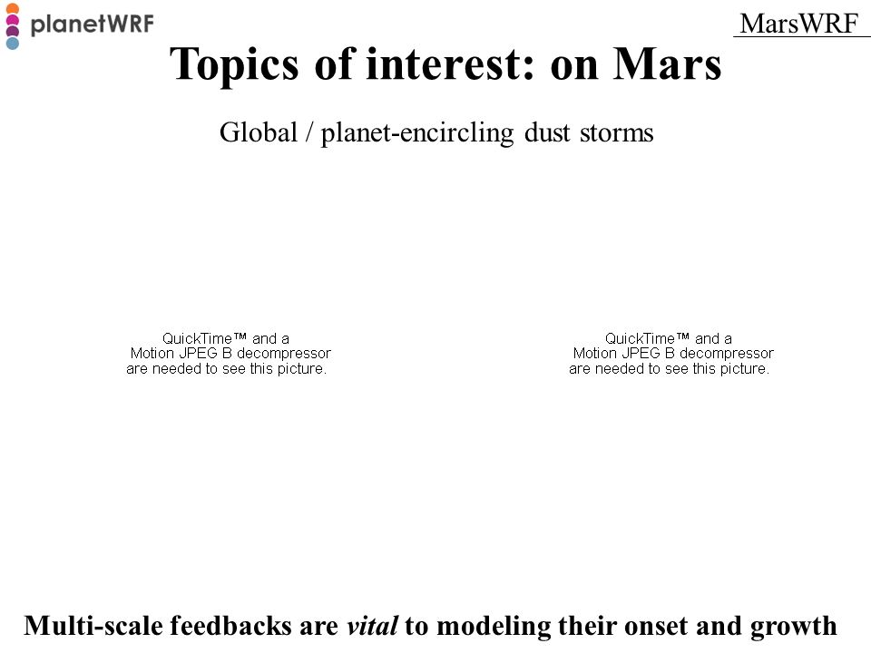 Topics of interest: on Mars Global / planet-encircling dust storms Multi-scale feedbacks are vital to modeling their onset and growth MarsWRF