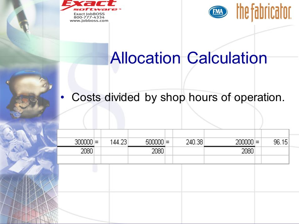 Allocation Calculation Costs divided by shop hours of operation.