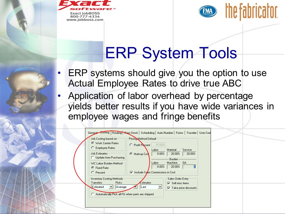 ERP systems should give you the option to use Actual Employee Rates to drive true ABC Application of labor overhead by percentage yields better result