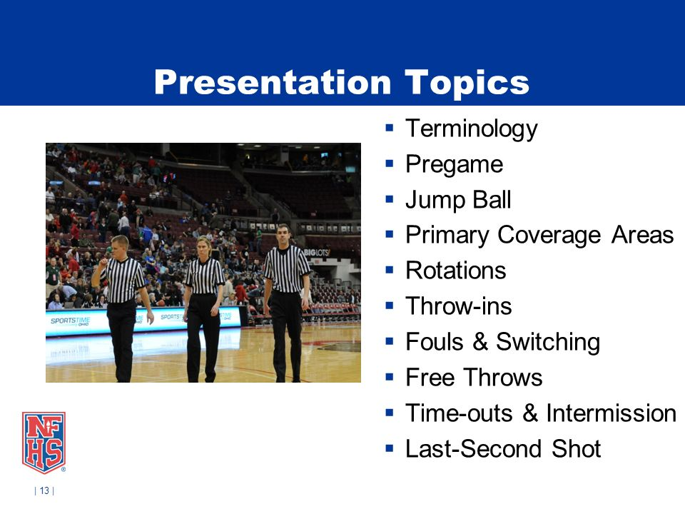 | 13 | Presentation Topics Terminology Pregame Jump Ball Primary Coverage Areas Rotations Throw-ins Fouls & Switching Free Throws Time-outs & Intermis