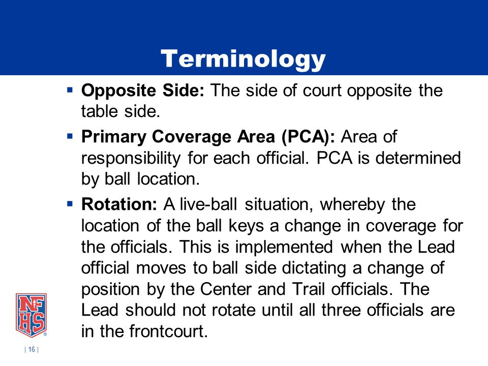 | 16 | Terminology Opposite Side: The side of court opposite the table side. Primary Coverage Area (PCA): Area of responsibility for each official. PC