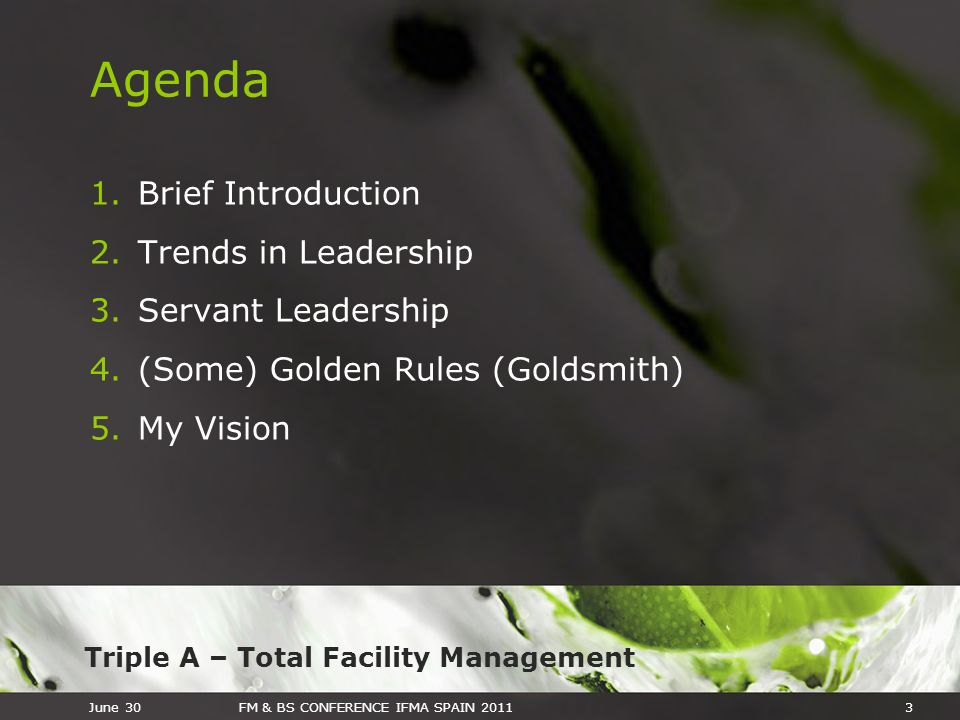 Triple A – Total Facility Management June 30FM & BS CONFERENCE IFMA SPAIN 20113 Agenda 1.Brief Introduction 2.Trends in Leadership 3.Servant Leadershi