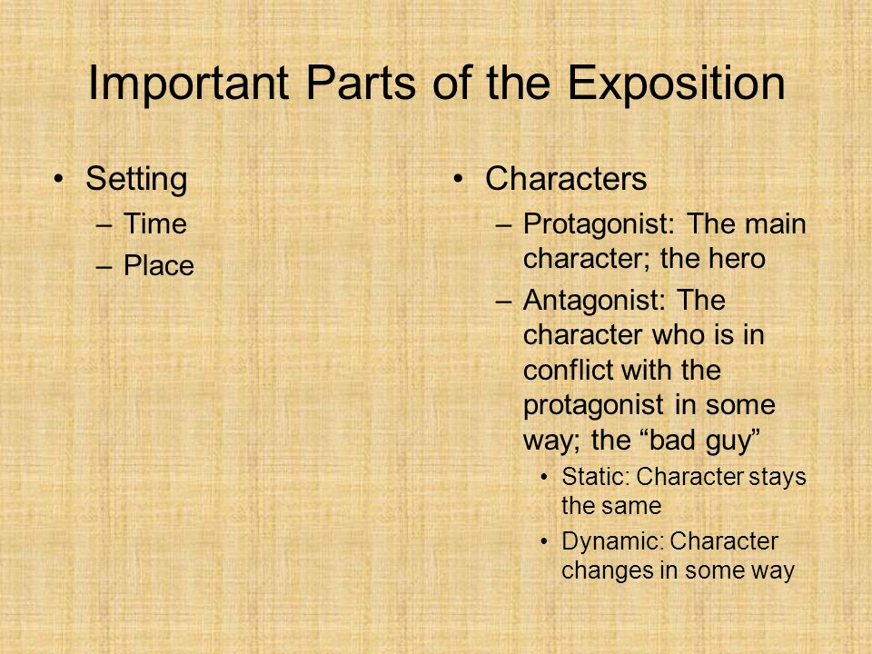 Important Parts of the Exposition Setting –Time –Place Characters –Protagonist: The main character; the hero –Antagonist: The character who is in conf