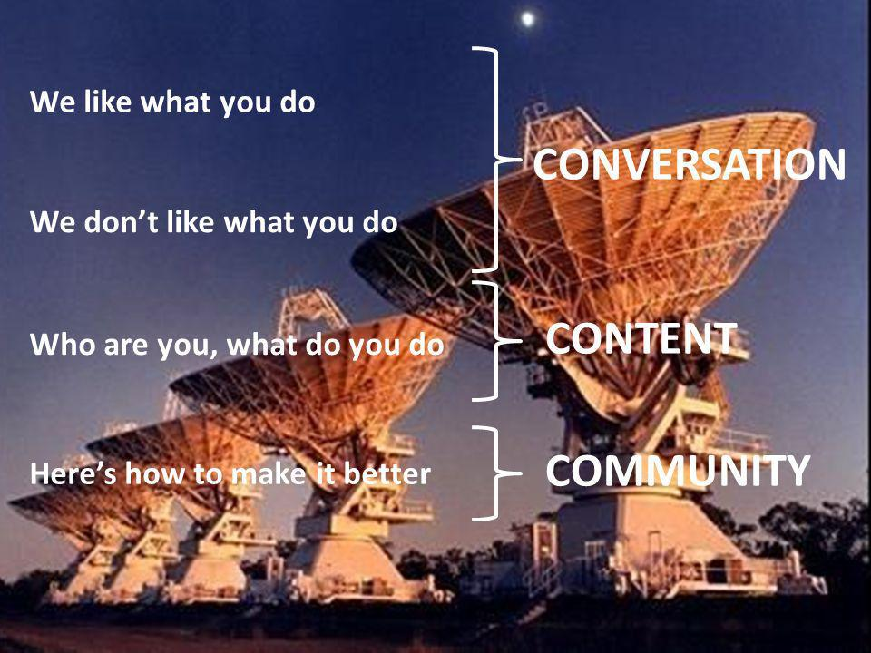 CONVERSATION CONTENT COMMUNITY We like what you do We dont like what you do Who are you, what do you do Heres how to make it better