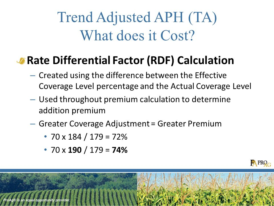 Trend Adjusted APH (TA) What does it Cost.