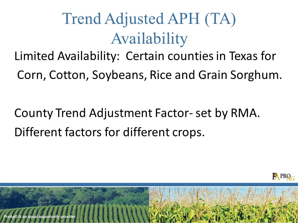Trend Adjusted APH (TA) Availability Limited Availability: Certain counties in Texas for Corn, Cotton, Soybeans, Rice and Grain Sorghum.