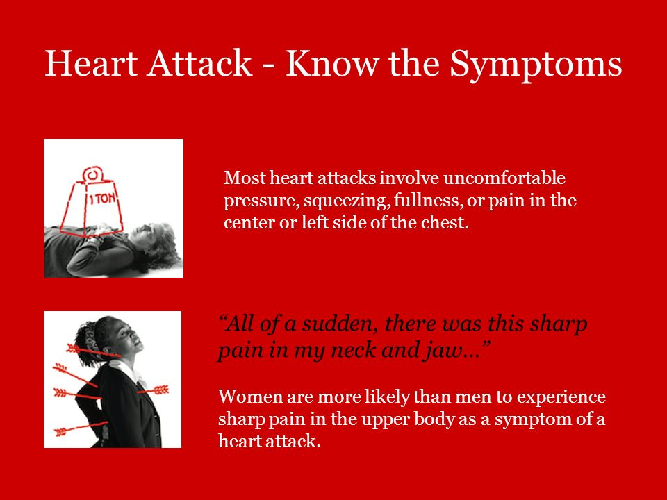 Heart Attack - Know the Symptoms Most heart attacks involve uncomfortable pressure, squeezing, fullness, or pain in the center or left side of the che