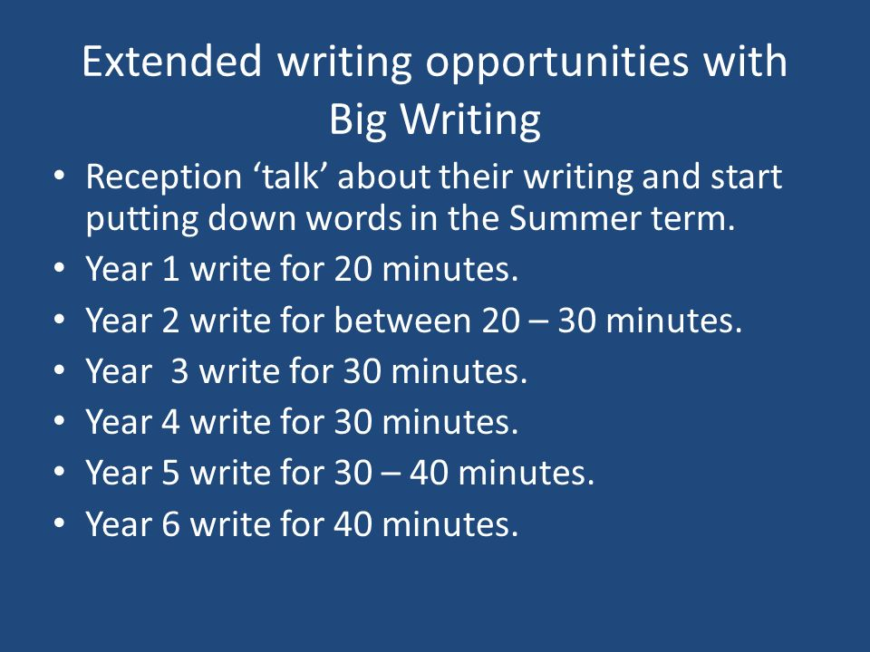 Extended writing opportunities with Big Writing Reception talk about their writing and start putting down words in the Summer term. Year 1 write for 2