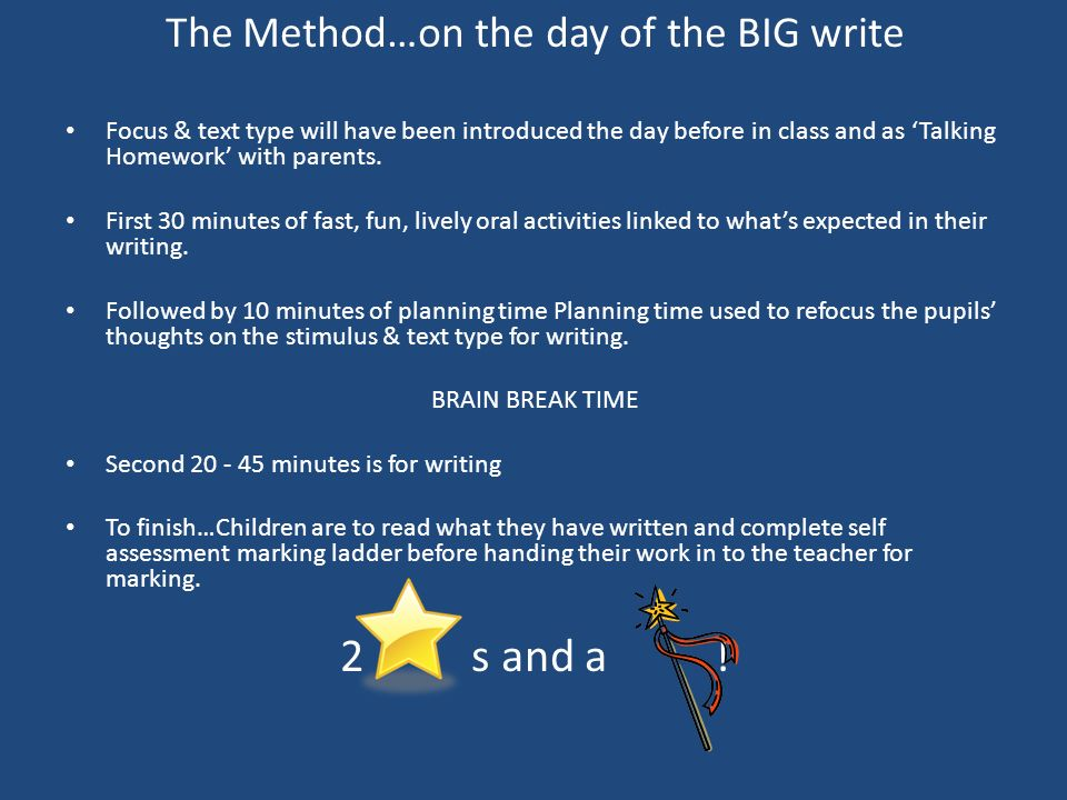 The Method…on the day of the BIG write Focus & text type will have been introduced the day before in class and as Talking Homework with parents. First