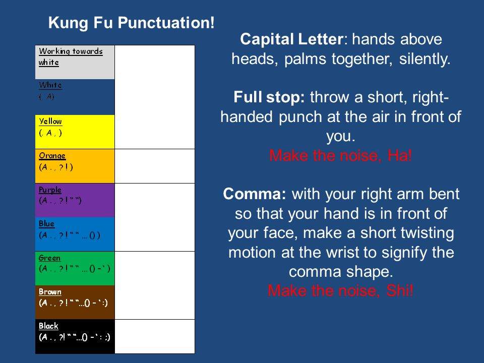 Kung Fu Punctuation! Capital Letter: hands above heads, palms together, silently. Full stop: throw a short, right- handed punch at the air in front of