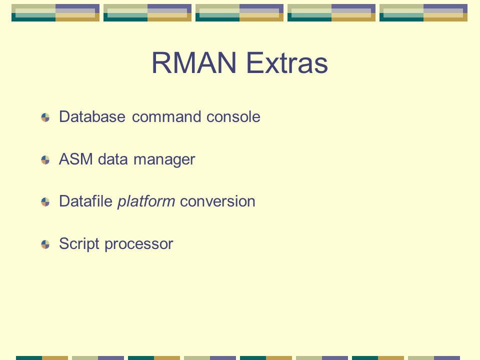 RMAN Extras Database command console ASM data manager Datafile platform conversion Script processor