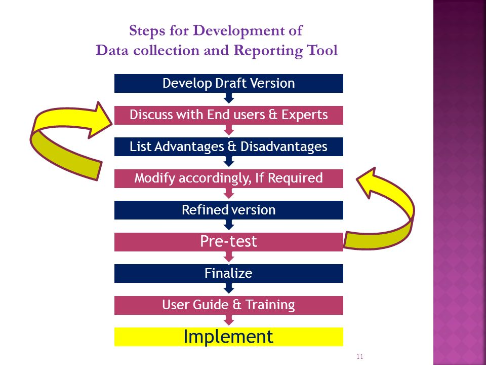 11 Steps for Development of Data collection and Reporting Tool Implement User Guide & Training Finalize Pre-test Refined version Modify accordingly, If Required List Advantages & Disadvantages Discuss with End users & Experts Develop Draft Version