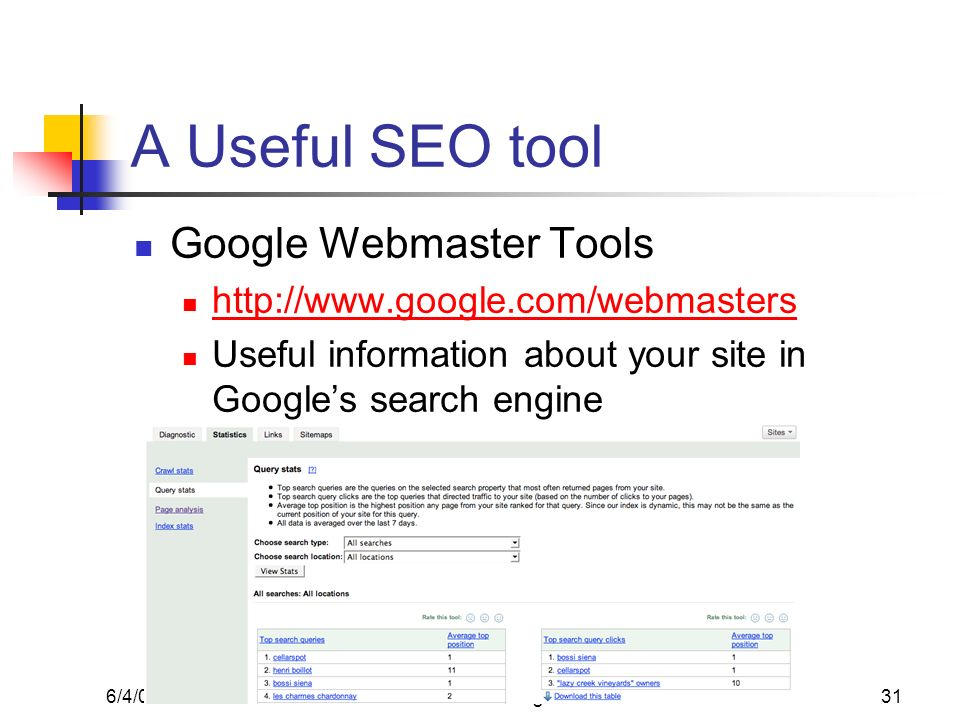 6/4/08Alex Loddengaard31 A Useful SEO tool Google Webmaster Tools http://www.google.com/webmasters Useful information about your site in Googles searc