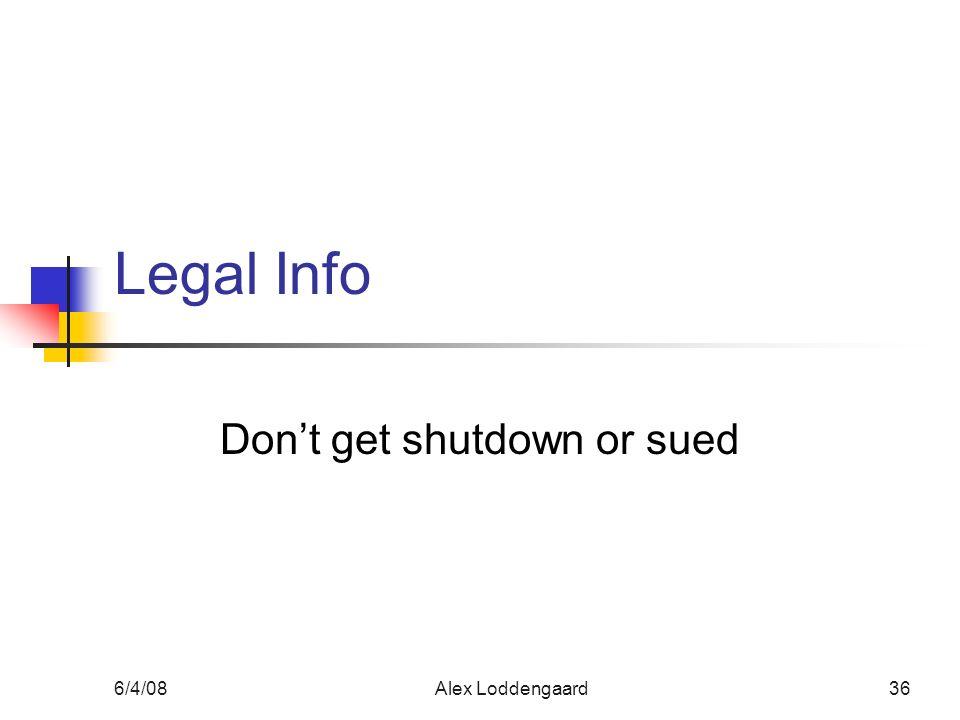 6/4/08Alex Loddengaard36 Legal Info Dont get shutdown or sued