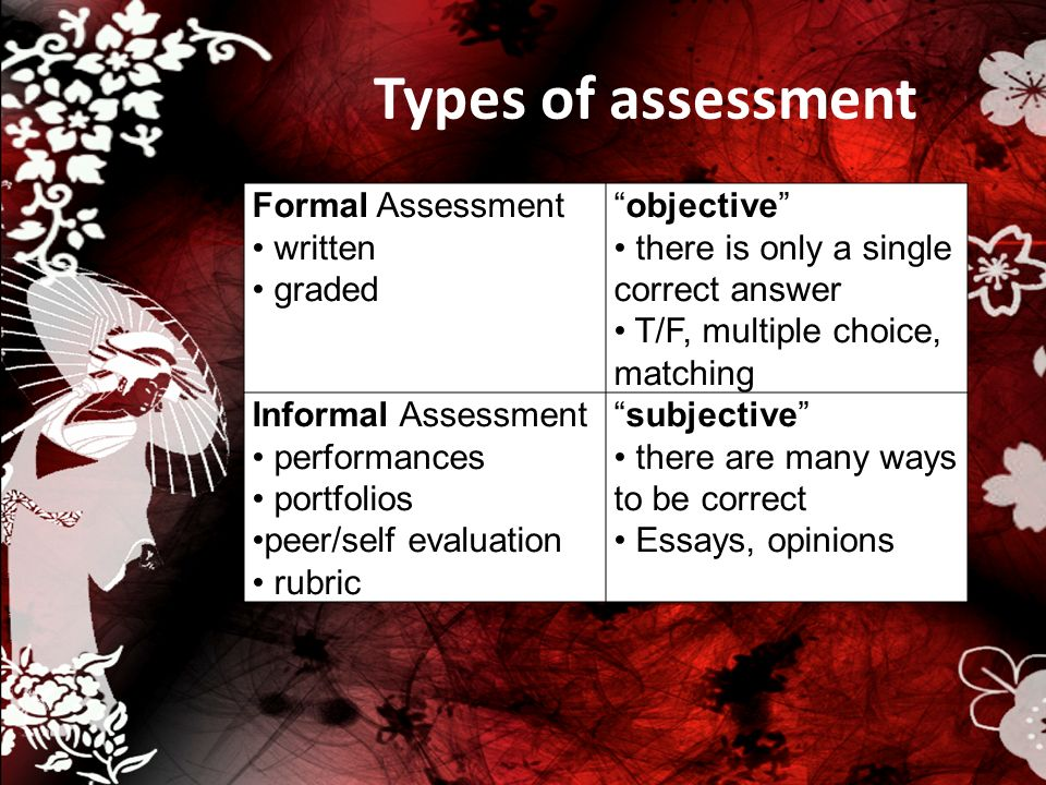 Types of assessment Formal Assessment written graded objective there is only a single correct answer T/F, multiple choice, matching Informal Assessmen
