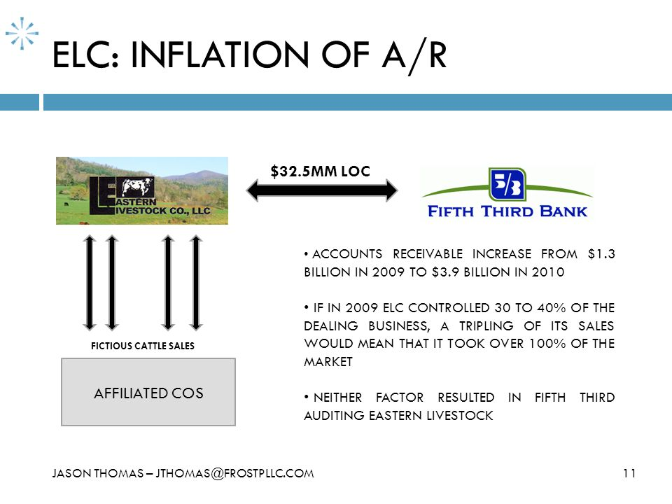 ELC: INFLATION OF A/R 11JASON THOMAS – JTHOMAS@FROSTPLLC.COM $32.5MM LOC AFFILIATED COS FICTIOUS CATTLE SALES ACCOUNTS RECEIVABLE INCREASE FROM $1.3 B