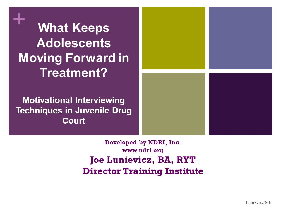 + What Keeps Adolescents Moving Forward in Treatment? Motivational Interviewing Techniques in Juvenile Drug Court Developed by NDRI, Inc. www.ndri.org