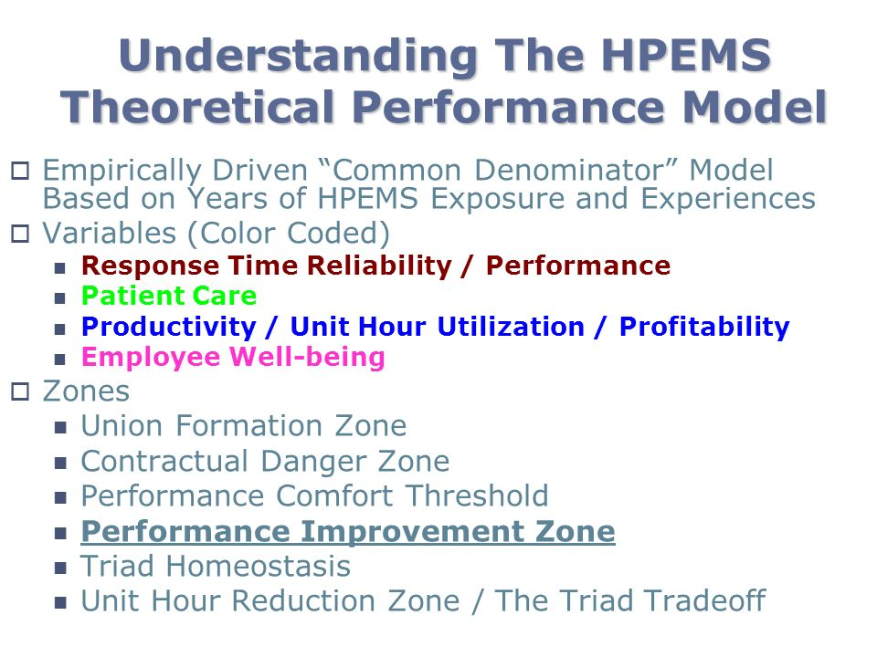Understanding The HPEMS Theoretical Performance Model Empirically Driven Common Denominator Model Based on Years of HPEMS Exposure and Experiences Var