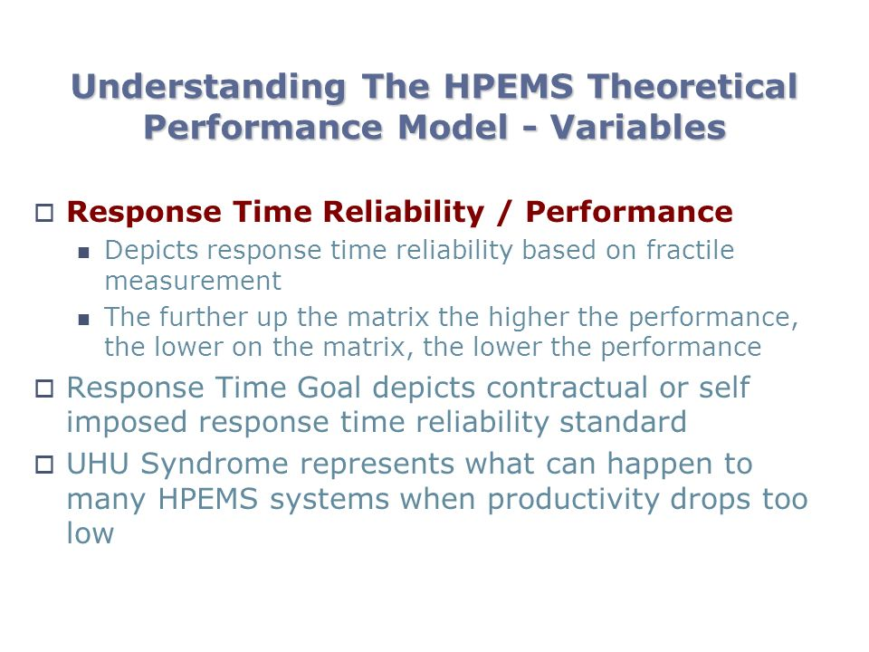 Understanding The HPEMS Theoretical Performance Model - Variables Response Time Reliability / Performance Depicts response time reliability based on fractile measurement The further up the matrix the higher the performance, the lower on the matrix, the lower the performance Response Time Goal depicts contractual or self imposed response time reliability standard UHU Syndrome represents what can happen to many HPEMS systems when productivity drops too low
