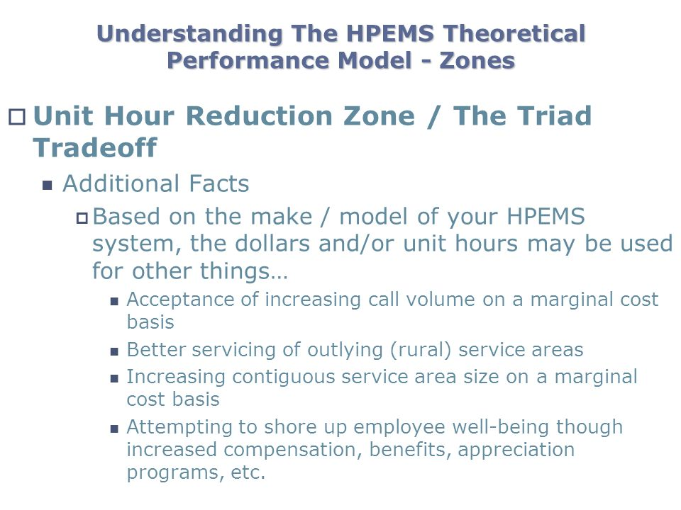 Understanding The HPEMS Theoretical Performance Model - Zones Unit Hour Reduction Zone / The Triad Tradeoff Additional Facts Based on the make / model