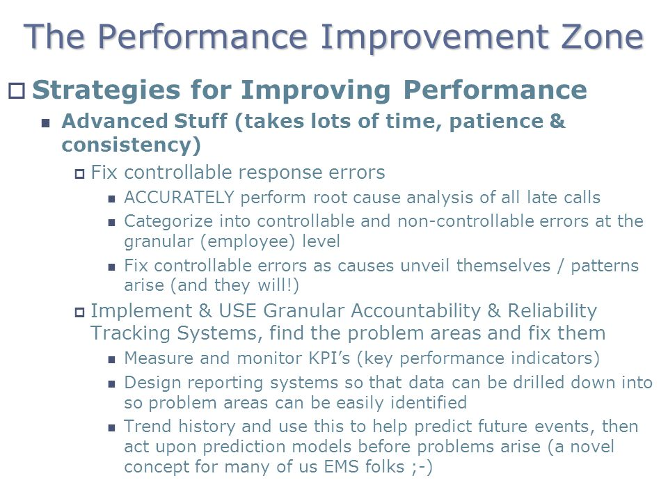 The Performance Improvement Zone Strategies for Improving Performance Advanced Stuff (takes lots of time, patience & consistency) Fix controllable res