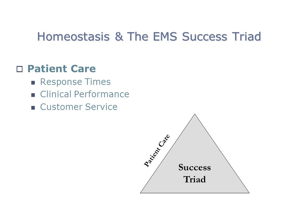 Homeostasis & The EMS Success Triad Patient Care Response Times Clinical Performance Customer Service Patient Care Success Triad