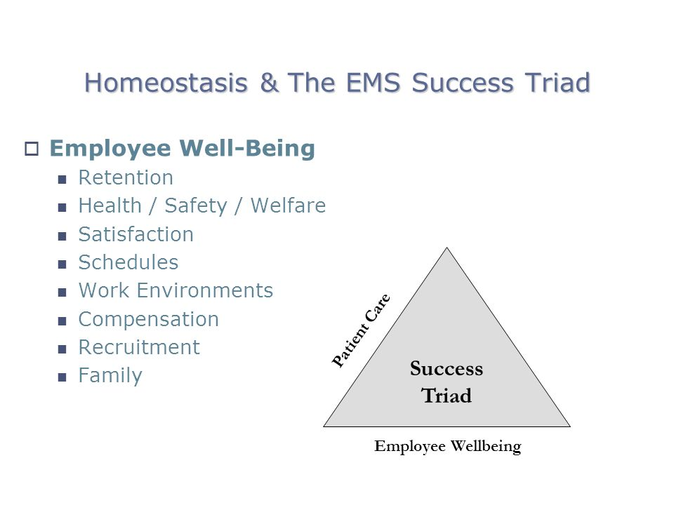 Homeostasis & The EMS Success Triad Employee Well-Being Retention Health / Safety / Welfare Satisfaction Schedules Work Environments Compensation Recruitment Family Patient Care Employee Wellbeing Success Triad