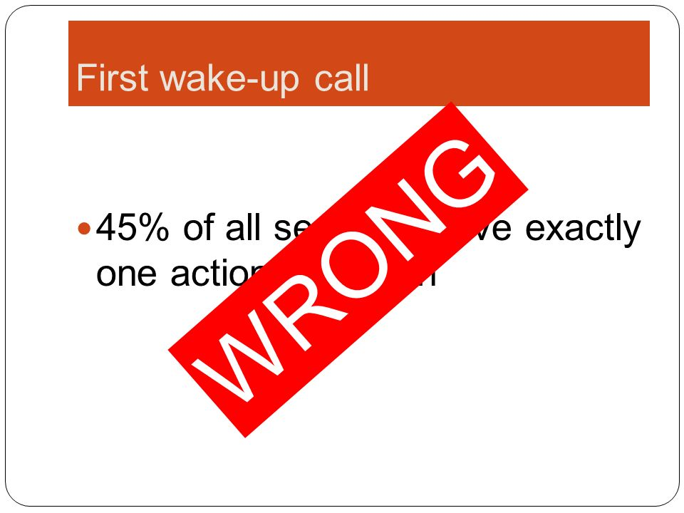 First wake-up call 45% of all sessions have exactly one action: a search WRONG